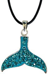 Silver Whale Tail crystal Pendant - Aquamarine bling bling!! -necklace is adjustable size 16