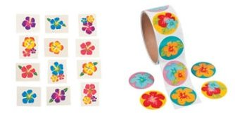100 HIBISCUS Flower STICKERS & 72 Hibiscus Glitter TATTOOS/LUAU Party/TROPICAL/DECOR/Girl's PARTIES/Favors