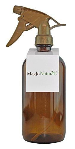 Empty Amber 16 Oz Glass Spray Bottle: Variety of Sprayer Options (GOLD)