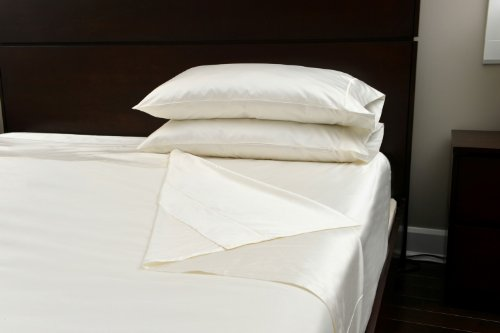 Luxury 2-Piece Flat & Fitted Sheet Set by SmartSilk Cream King