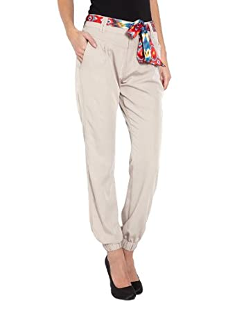 Morgan - Pantalon - Relaxed - Femme - Beige - FR : 34 (Taille fabricant : 34)