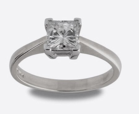 18ct White Gold 5.5.mm (1.05ct Equivelent) Moissanite Square Single Stone Ring - Size J