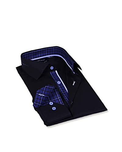 Levinas Men's Blue/Navy Check with Burgundy Contrast Trim