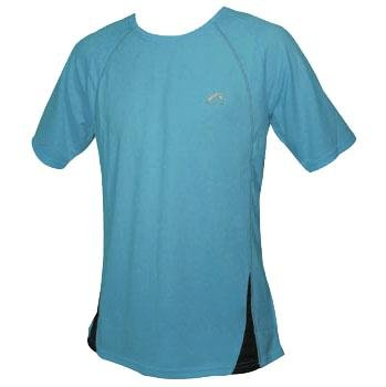 Mens More Mile PALERMO short Sleeve Cyan Blue running top MM1418