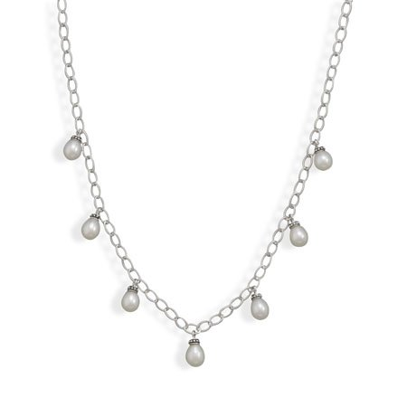 16 Inch Rhodium Plated Cultured Freshwater Pearl Drop Necklace