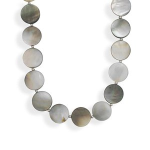 Silver Bead and Round Black Lip Shell Necklace Sterling Silver - Made in the USA