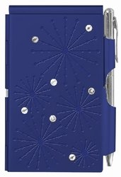 Metal notepad case and pen navy blue with rhinestones