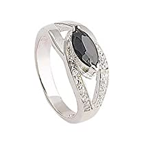 Big Sale Sterling Silver Black and White CZ Dress Ring - Width 3 mm. Setting Width 9mm.