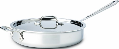 All-Clad 4403 Stainless Steel Tri-Ply Bonded Dishwasher Safe 3-Quart Saute Pan with Lid / Cookware, Silver