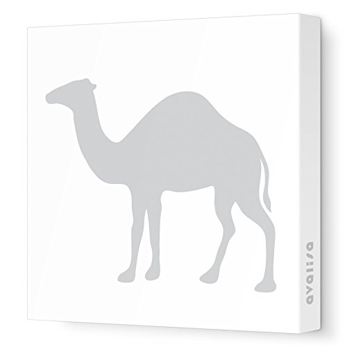 "Avalisa Stretched Canvas Camel Silhouette Nursery Wall Art, Grey, 18"" x 18"""