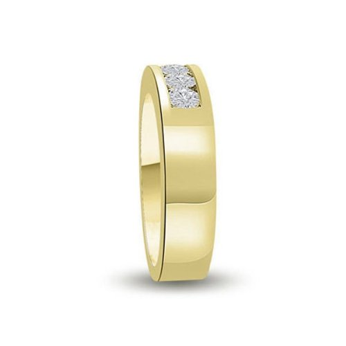 0.60 carat Diamond Half Eternity Ring for Women. G/SI1 Round Brilliant Diamonds in Channel Setting in 18ct Yellow Gold