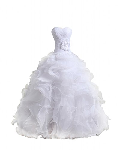 Bridal Mall Women's Organza Sweetheart Neckline Cascading Ruched Wedding Dress White 20
