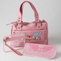 Diaper Bag Rock N' Mom Pink Leather Beautiful Gift For the New Mom!
