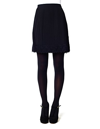 Pleated Lace Skirt - Black - Extra Small