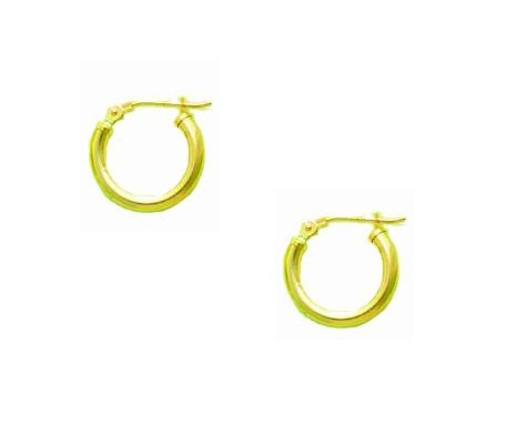14K Real Yellow Gold Tubular Shiny Round Hoops Hoop Earrings 2x14mm