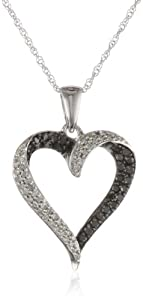 10k White Gold Black and White Diamond Heart Pendant Necklace (1/3 cttw, I-J Color, I2-I3 Clarity), 18