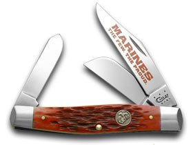 Case Xx Red Jigged Bone Marines The Few The Proud Stockman Pocket Knife Knives
