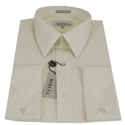 Mens modena solid cream french cuff dress shirt size 17 for Mens shirt french cuff