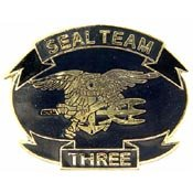 "Metal Lapel Pin - US Navy Pins & Emblems - Navy Seal Pins - Seal Team 3 (1-1/8"")"