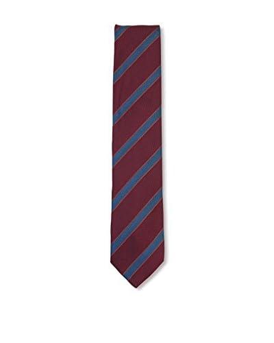 Ermenegildo Zegna Men's Diagonal Striped Silk Tie, Red