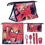 Spiderman - Set beleza/higiene 5 pieces, neceser, vaso de plastico, cepillo para el pelo, funda para cepillo de dientes, toalla microfibra by Valery