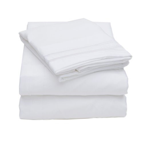 1500 Thread Count 4Pc Bed Sheet Set Egyptian Quality Deep Pocket - Twin, White