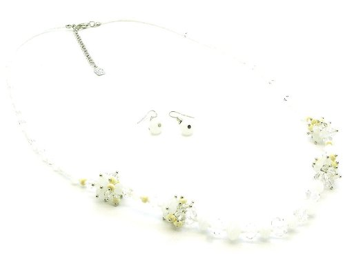 NECKLACE AND EARRING SET GLASS BEAD SEED BEAD WHITE Fashion Jewelry Costume Jewelry fashion accessory Beautiful Charms