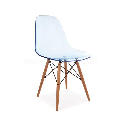1 x eames style special edition ghost dsw eiffel dining lounge side chair blue purchase - Eames ghost chair ...
