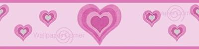 Girlie Heart Wallpaper Border Pink & Silver 10 Metre Coil from Debona