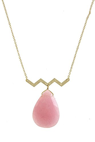 Trendy Fashion Jewelry Teardrop Natural Stone Pendant Necklace By Fashion Destination   (Baby Pink) front-220498