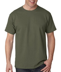 Tagless Cotton Tee Shirt, Color: Fatigue Green, Size: XX-Large