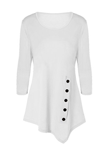 Womens 3/4 Sleeves Round Neck Handkerchief Hem Top (X-Large, White)
