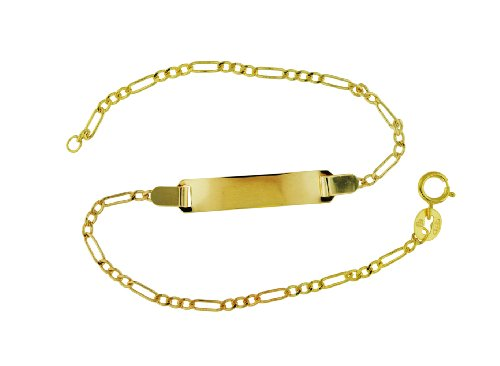 9ct Yellow Gold Semi Hollow Figaro ID Bracelet 19cm/7.5