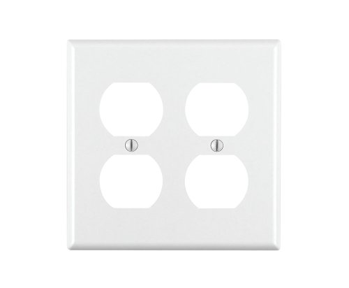 Leviton 88016 2-Gang Duplex Device Receptacle Wallplate, Standard Size, Thermoset, Device Mount, White