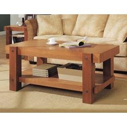 Organize It All Robust Rectangular Wood Coffee Table in Oak