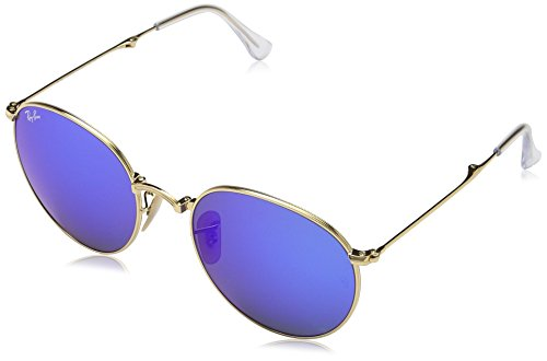 Ray-Ban-METAL-MAN-SUNGLASS-GOLD-Frame-GREEN-MIRROR-BLUE-Lenses-53mm-Non-Polarized