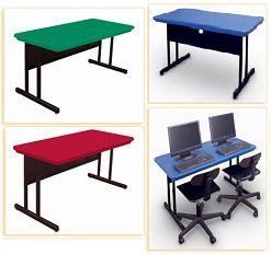 Correll blow molded plastic top computer table - Standard computer desk height ...