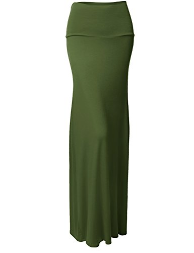 Solid Color Lightweight Rayon Span Maxi Skirts