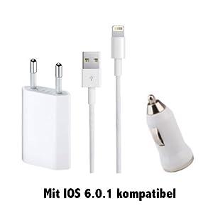 3 in 1 Original Zukimik Netzteil KFZ Auto Ladegerät Ladekabel Datenkabel für Apple IPhone 5 , IPod Touch 5g , 7G Nano mit IOS 6.0.1 kompatibel