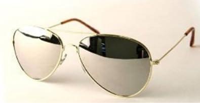 Amazon.com: Aviator Sunglasses Gold Frame Mirror Lens with ...