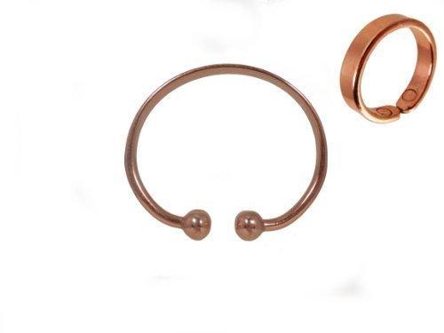 Unisex Rame Magnetico Terapia Collana metallica Braccialetto e rame magnetico Semplice Anello Set Regalo - Medio: 19 - 21mm