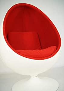 fauteuil design coquille oeuf egg chair blanc rouge. Black Bedroom Furniture Sets. Home Design Ideas