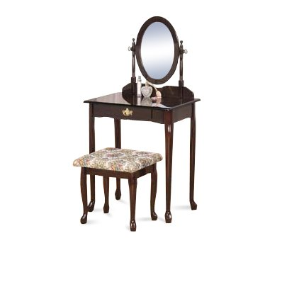 Espresso / Cappuccino Wood Vanity Set with Table & Floral Bench & Adjustable Mirror