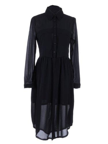 Anna-Kaci S/M Fit Black Semi Sheer Nipped Waist Knife Pleats Shirt Style Dress