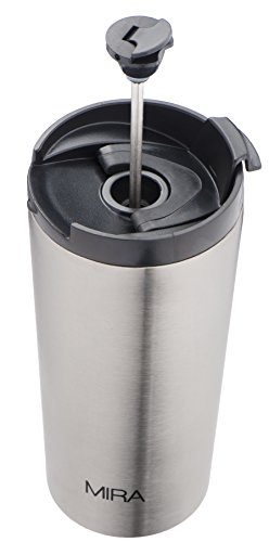 French Press Travel Mug, 12 oz, Stainless Steel, Vacuum Insulated, For Coffee and Tea by Zell (French Coffee Press Travel Mug compare prices)