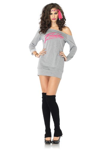 Leg Avenue Women&#8217; S 3 Piece Flashdance Sweatshirt Dress Includes Leg Warmers And Headband