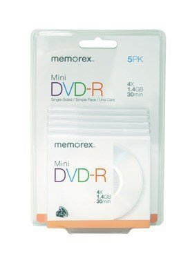 memorex-mini-dvd-r-discs-works-with-camcorders-recorders-drives-dvd-r-rw-14-gb-boxed-5-pack-by-memor