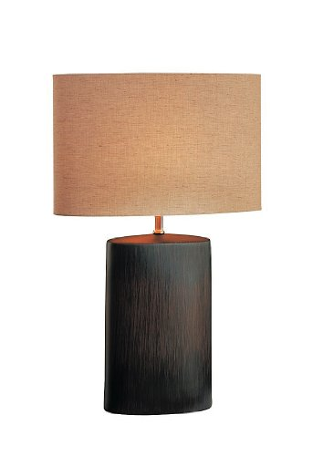 Lite Source LS-21024 Narvel Ceramic Table Lamp, Antique Bronze with Tan Fabric Shade