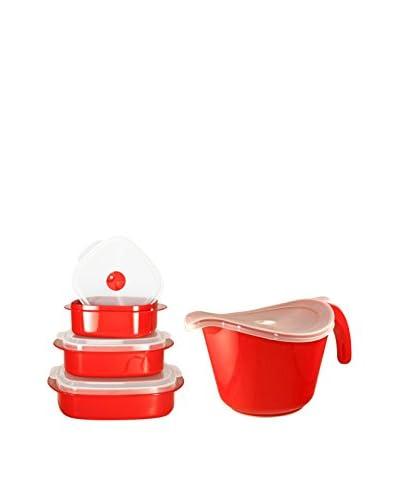 Reston Lloyd Red 8-Piece Microwave Safe Batter Bowl & Storage Set