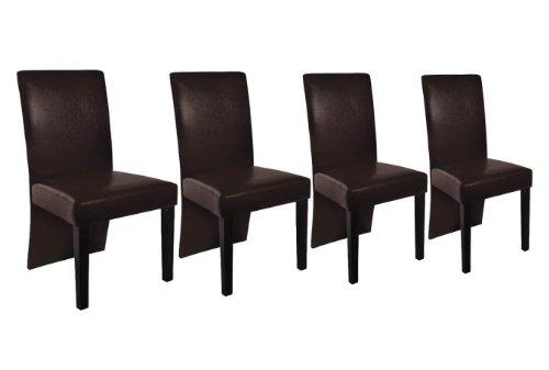 Fauteuil lot de 4 chaise de salle manger ou cuisine en for Chaise de salle a manger simili cuir marron